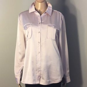 CHICO'S : LONG-SLEEVE PALE PINK BLOUSE:  Size 2